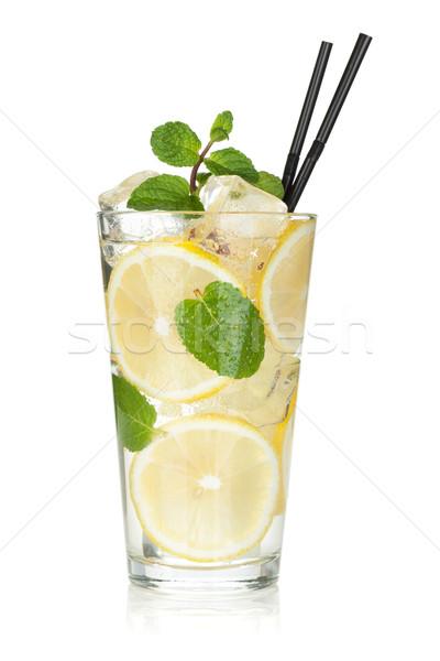 Glass of lemonade with lemon and mint Stock photo © karandaev