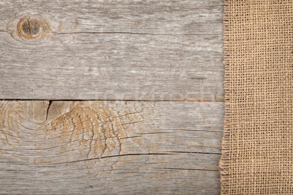 Zsákvászon textúra fa asztal fa absztrakt terv Stock fotó © karandaev
