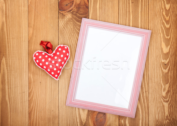 Fényképkeret piros valentin nap szív játék fából készült Stock fotó © karandaev