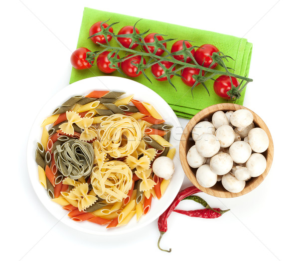 Stock fotó: Friss · hozzávalók · főzés · tészta · paradicsom · gomba