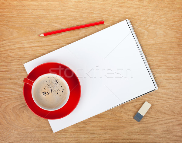 Blank notepad with office supplies and red coffee cup Stock photo © karandaev