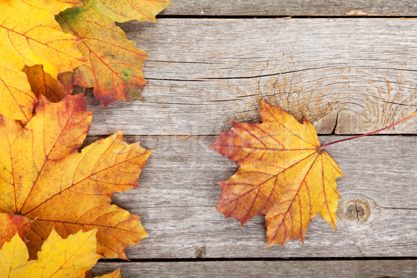 Színes ősz juhar levelek fa asztal természet Stock fotó © karandaev