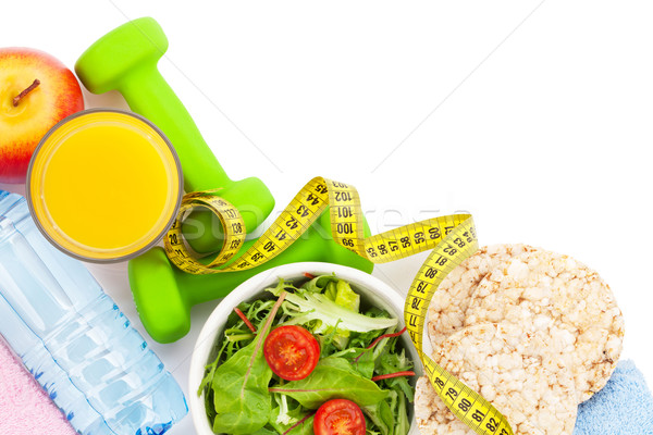 Mètre à ruban aliments sains serviettes fitness santé isolé Photo stock © karandaev