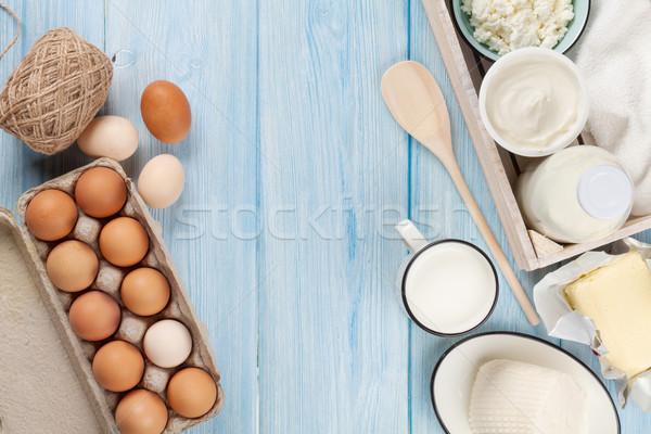 Tejtermékek tejföl tej sajt tojás joghurt Stock fotó © karandaev
