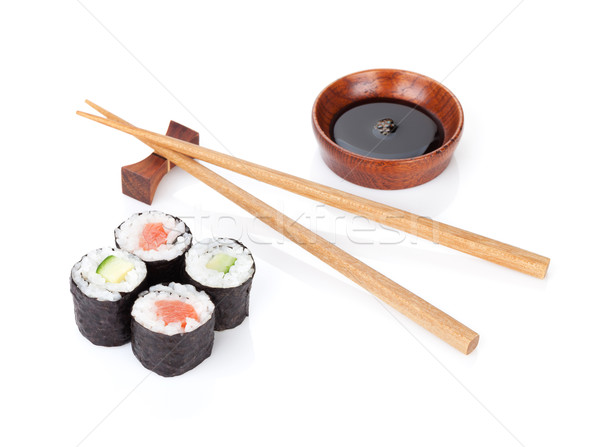 Sushi ingesteld eetstokjes sojasaus geïsoleerd witte Stockfoto © karandaev