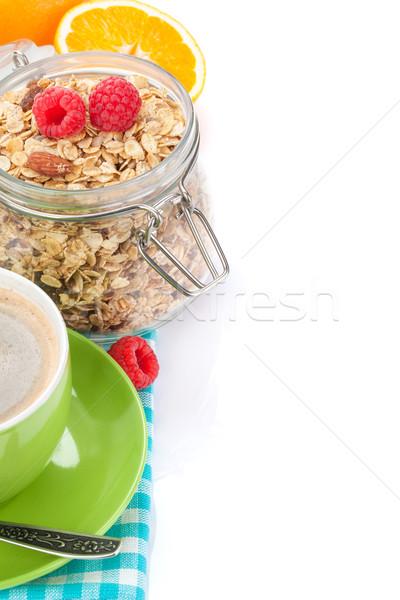 Sağlıklı kahvaltı müsli yalıtılmış beyaz gıda Stok fotoğraf © karandaev