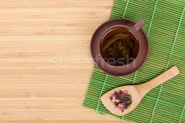Japán zöld tea sakura ág bambusz asztal Stock fotó © karandaev