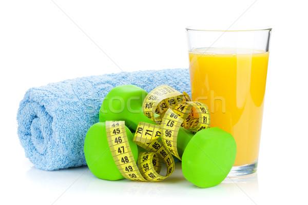 Dois verde fita métrica suco de laranja fitness saúde Foto stock © karandaev