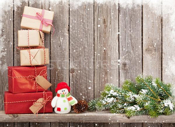 Natale pupazzo di neve giocattolo legno muro Foto d'archivio © karandaev