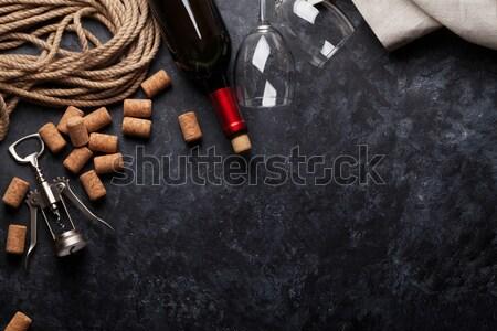 赤ワイン ボトル 眼鏡 コークスクリュー 暗い 石 ストックフォト © karandaev