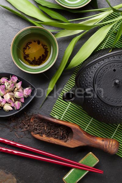 Asya çay çanak demlik taş tablo Stok fotoğraf © karandaev