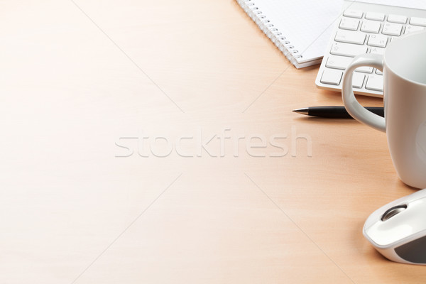 Office desk table with supplies and coffee cup Stock photo © karandaev
