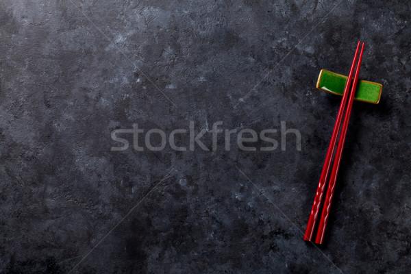 суши палочки для еды каменные таблице Top мнение Сток-фото © karandaev