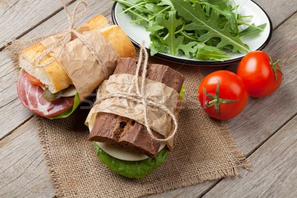 два Бутерброды Салат ветчиной сыра помидоров Сток-фото © karandaev