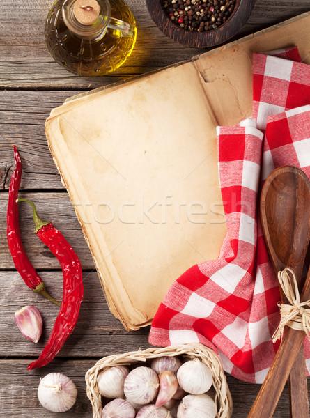 Vintage receta libro ingredientes cocina Foto stock © karandaev