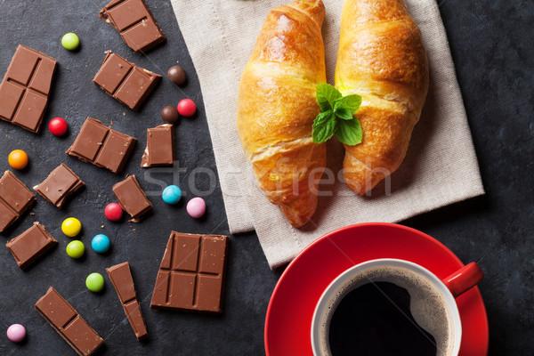 Stock fotó: Csokoládé · croissantok · kávé · kávéscsésze · sötét · kő