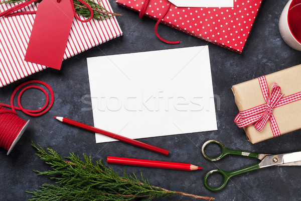 Christmas gift wrapping Stock photo © karandaev