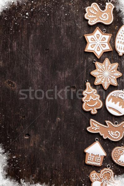 Natal pão de especiarias bolinhos topo ver Foto stock © karandaev
