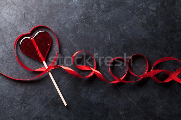 Valentin nap cukorka szív vörös szalag üdvözlőlap kő Stock fotó © karandaev