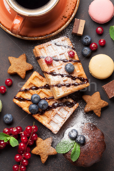 Café dulces bayas superior vista alimentos Foto stock © karandaev