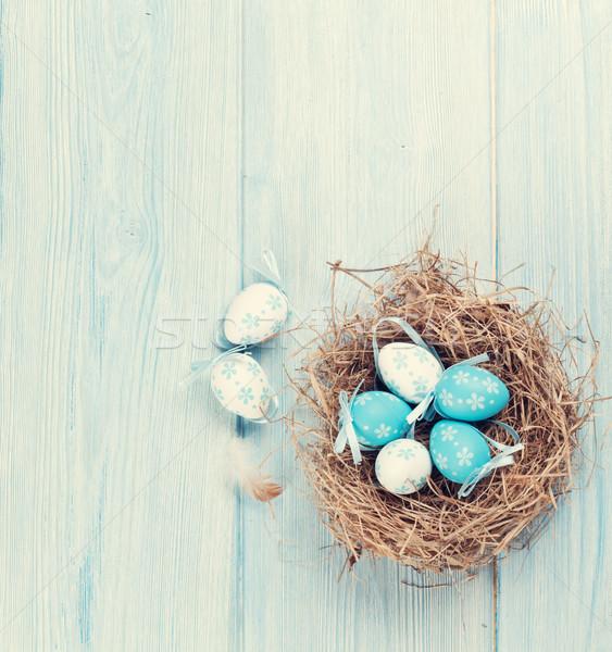 пасхальных яиц гнезда мнение копия пространства ретро Сток-фото © karandaev