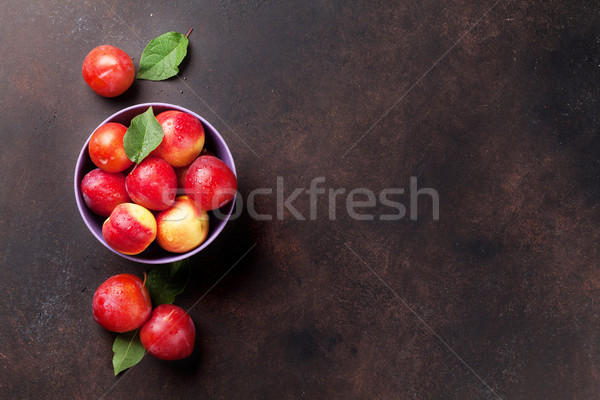 Fresh ripe plums Stock photo © karandaev