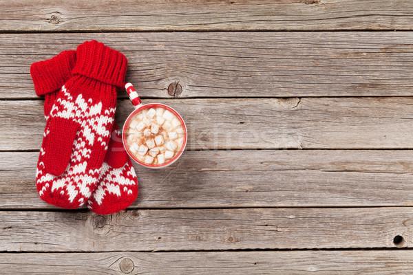 варежки горячий шоколад проскурняк Рождества деревянный стол Top Сток-фото © karandaev