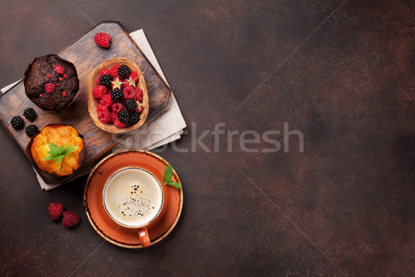 Muffins and coffee Stock photo © karandaev