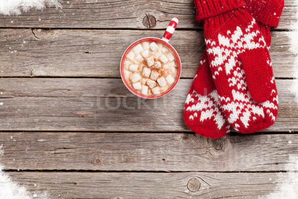 Christmas background with mittens and hot chocolate Stock photo © karandaev