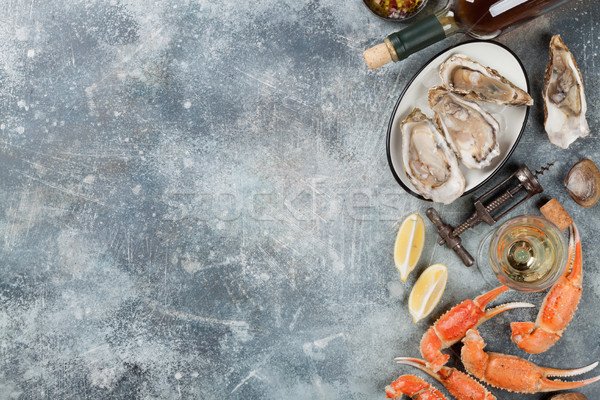 Stock photo: Seafood and wine