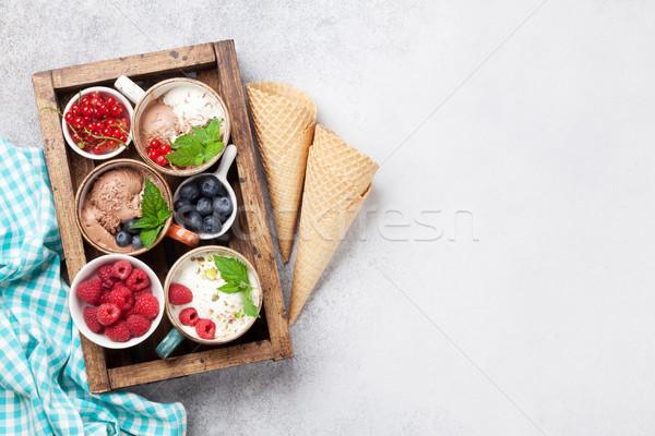 Dondurma karpuzu ahşap kutu üst görmek Stok fotoğraf © karandaev