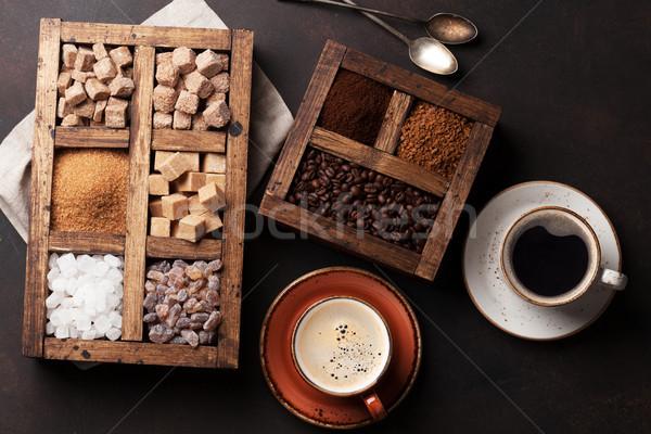 Kubki do kawy różny cukru górę widoku żywności Zdjęcia stock © karandaev
