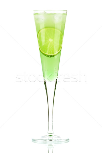 Mint Champagne alcohol cocktail with lime slice Stock photo © karandaev