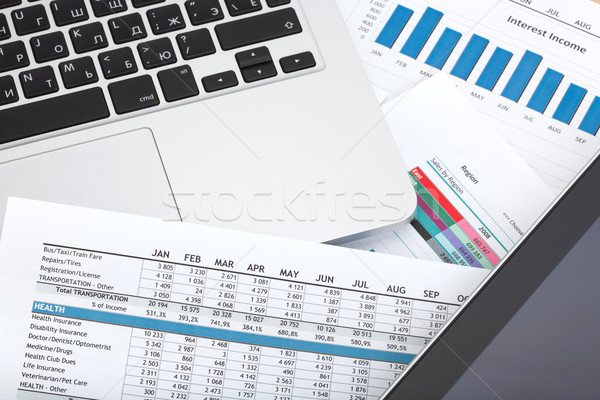 Financial papers, computer and office supplies Stock photo © karandaev