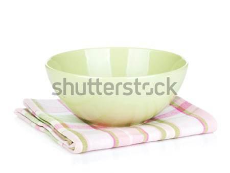 Salad bowl over kitchen towel Stock photo © karandaev