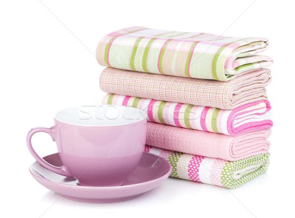 ストックフォト: キッチン · タオル · コーヒーカップ · 孤立した · 白 · テクスチャ
