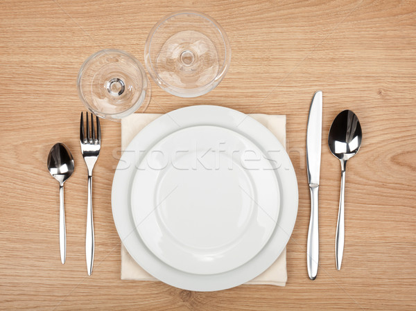 Empty plate, glasses and silverware set Stock photo © karandaev