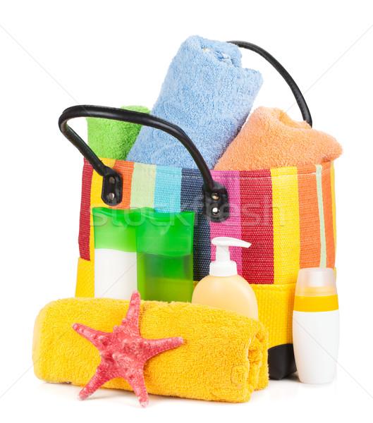 Foto stock: Saco · toalhas · praia · isolado · branco · fundo