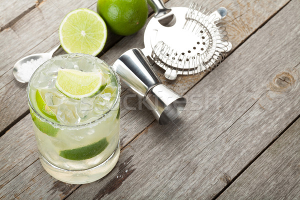 Classic margarita cocktail with salty rim Stock photo © karandaev