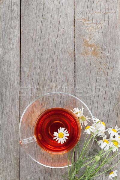 Tisane camomille fleur table en bois espace de copie alimentaire Photo stock © karandaev
