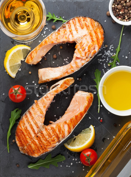 Grilled salmon and white wine Stock photo © karandaev