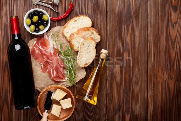 火腿 酒 橄欖 巴馬 橄欖油 木桌 商業照片 © karandaev
