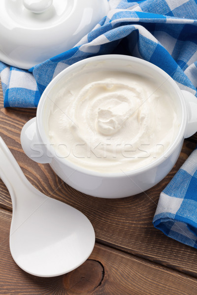 Sour cream in a bowl Stock photo © karandaev