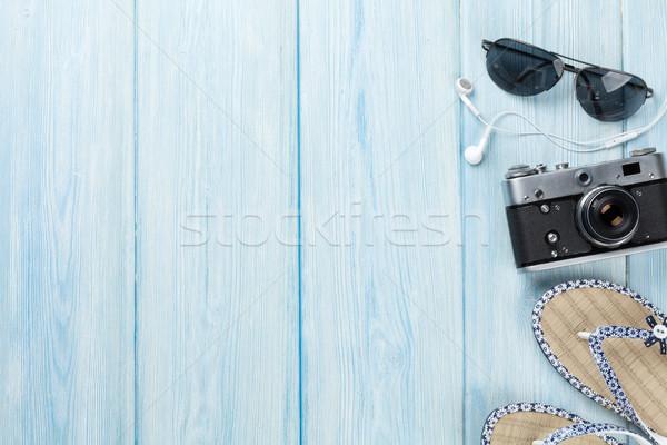 旅行 休暇 木製のテーブル 先頭 表示 コピースペース ストックフォト © karandaev