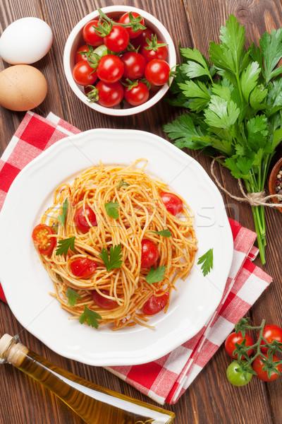 スパゲティ パスタ トマト パセリ 木製のテーブル 先頭 ストックフォト © karandaev