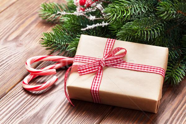 Christmas geschenk snoep riet geschenkdoos Stockfoto © karandaev