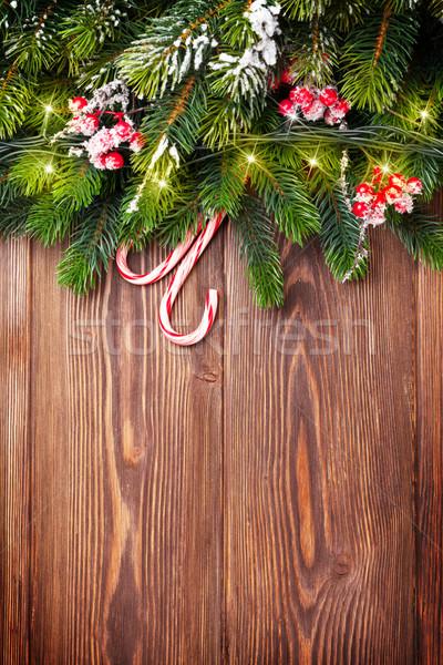 филиала Рождества фары конфеты древесины Сток-фото © karandaev