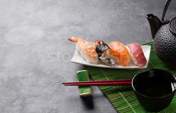 набор суши зеленый чай каменные таблице мнение Сток-фото © karandaev