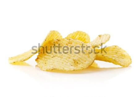 Foto stock: Batatas · fritas · isolado · branco · comida · alimentação · pimenta
