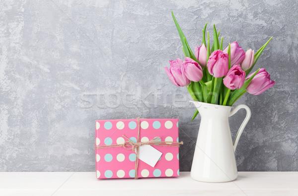 ピンク チューリップ 花 花束 ギフトボックス 新鮮な ストックフォト © karandaev